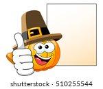 pilgrim cartoon pumpkin with... | Shutterstock .eps vector #510255544