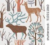 seamless pattern with wild deers | Shutterstock .eps vector #510311860