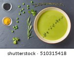 pureed pea soup with spices ...   Shutterstock . vector #510315418