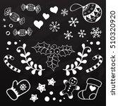 black and white christmas... | Shutterstock .eps vector #510320920