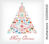 christmas tree   merry... | Shutterstock .eps vector #510330433