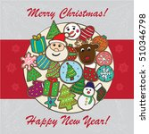 christmas card with cookies... | Shutterstock .eps vector #510346798