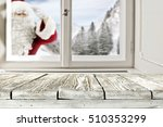 red santa claus and window of... | Shutterstock . vector #510353299