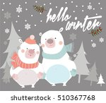 christmas card with bears.... | Shutterstock .eps vector #510367768