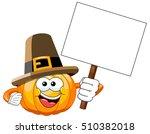 pilgrim cartoon pumpkin holding ... | Shutterstock .eps vector #510382018
