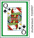 stamp with queen of spades | Shutterstock .eps vector #5103907