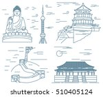famous china landmarks thin... | Shutterstock .eps vector #510405124