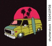 old vintage low van with sun ... | Shutterstock .eps vector #510410938
