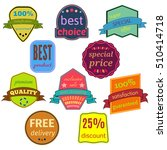 set of ten badges with ribbons. ... | Shutterstock . vector #510414718