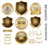 vector medieval golden shields... | Shutterstock .eps vector #510449188