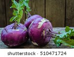 Fruits Are Red Kohlrabi On An...