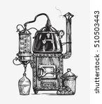 distillation apparatus sketch.... | Shutterstock .eps vector #510503443