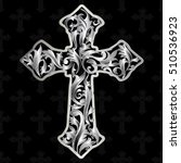 vintage antique cross. silver... | Shutterstock .eps vector #510536923