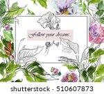 hand drawn artwork watercolor... | Shutterstock . vector #510607873
