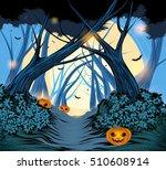 halloween pumpkin with forest... | Shutterstock .eps vector #510608914