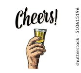 male hand holding a glass with... | Shutterstock .eps vector #510615196