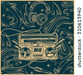 music design   tape recorder on ... | Shutterstock .eps vector #510615940