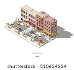 isometric town buildings with... | Shutterstock .eps vector #510624334
