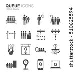 queue and waiting icons.... | Shutterstock .eps vector #510625594