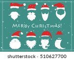 santa hats  moustache and... | Shutterstock .eps vector #510627700