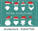 santa hats  moustache and... | Shutterstock .eps vector #510627700