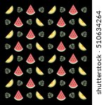 flat fruits pattern. vector... | Shutterstock .eps vector #510634264
