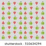 flat fruits pattern. vector... | Shutterstock .eps vector #510634294