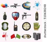 Paintball Icons Set. Cartoon...