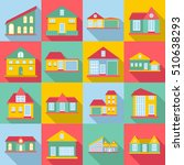 houses icons set. flat... | Shutterstock .eps vector #510638293