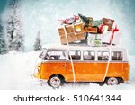 christmas bus with gifts  for a ... | Shutterstock . vector #510641344