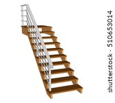 Staircase 3d  Wooden With A...