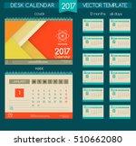 calendar 2017. vector templates ... | Shutterstock .eps vector #510662080