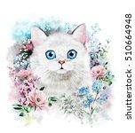 Cute Cat. Watercolor Cat...