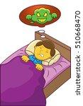 boy having nightmare cartoon... | Shutterstock .eps vector #510668470