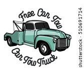 color vintage car tow truck... | Shutterstock .eps vector #510691714