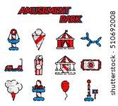 amusement park flat icon set | Shutterstock .eps vector #510692008