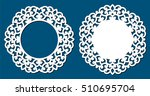 photo frame with lace corners... | Shutterstock .eps vector #510695704
