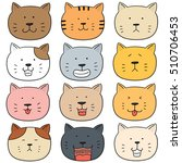 vector set of cat face | Shutterstock .eps vector #510706453