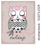 Cute Owl Illustration Print Fo...