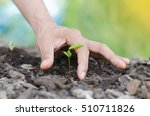 planting young tree by kid hand ... | Shutterstock . vector #510711826