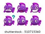 funny cartoon violet fish... | Shutterstock .eps vector #510715360