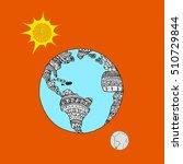 planet on orange background.... | Shutterstock .eps vector #510729844