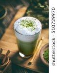 Matcha Green Tea Latte In Glas...