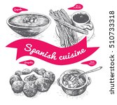 menu of spain monochrome... | Shutterstock .eps vector #510733318