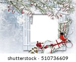 christmas background with photo ... | Shutterstock . vector #510736609