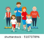 flat illustration. happy sports ... | Shutterstock .eps vector #510737896