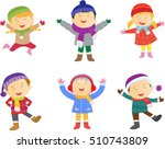 collection of kids in winter... | Shutterstock . vector #510743809
