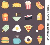 set of food related icons | Shutterstock .eps vector #510744088