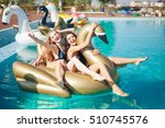 happy girls with beverages on... | Shutterstock . vector #510745576