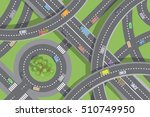 roads and transport. top view.... | Shutterstock .eps vector #510749950